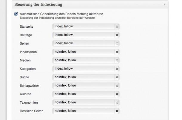 wpSEO: Noindex-Angabe für Attachment-Seiten