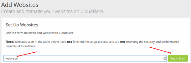 cloudflare und wordpress_add website