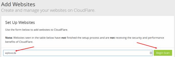 cloudflare und wordpress_add website